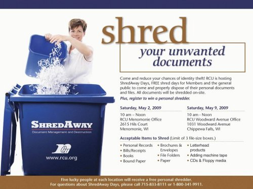 shred unwanted documents promotion