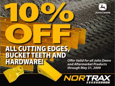 10% off cutting edges, bucket teeth, hardware