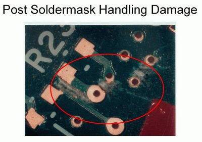 post soldermask handling damage holes