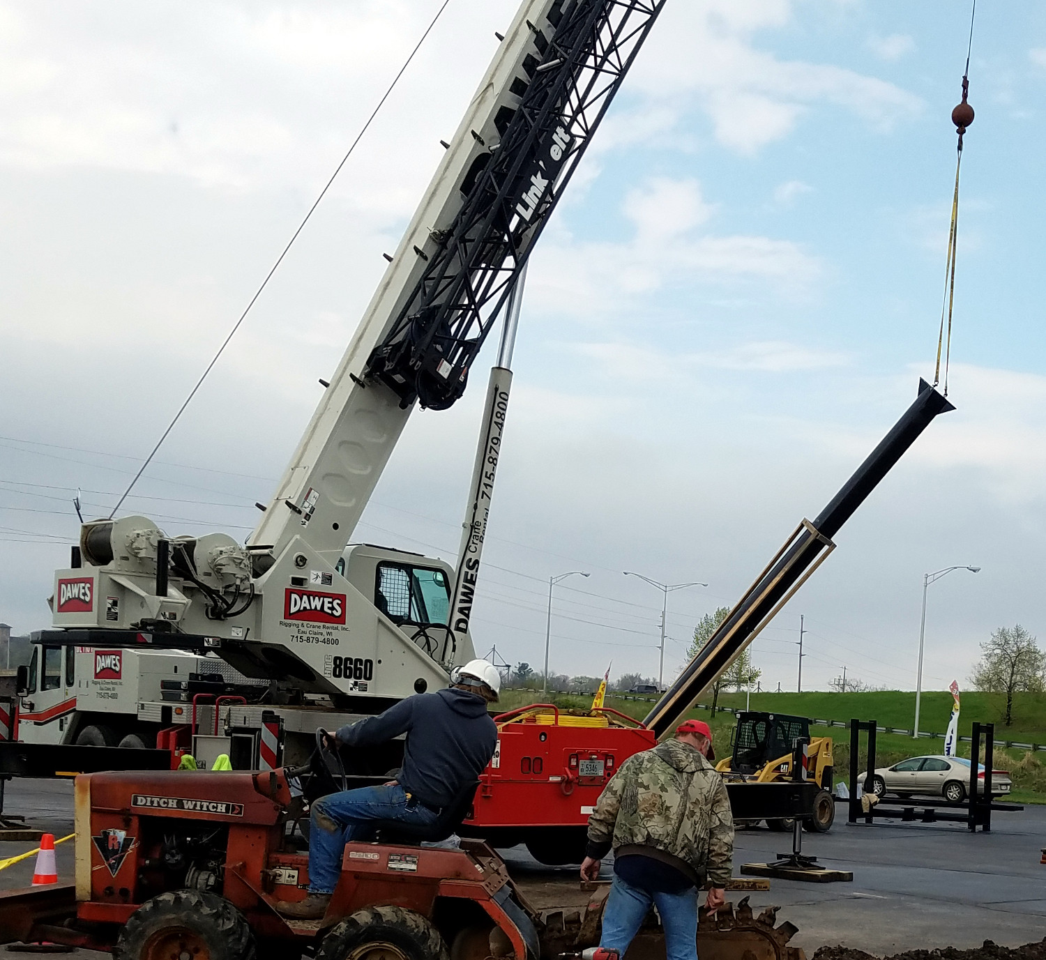Crane Lifts Tower into Place
